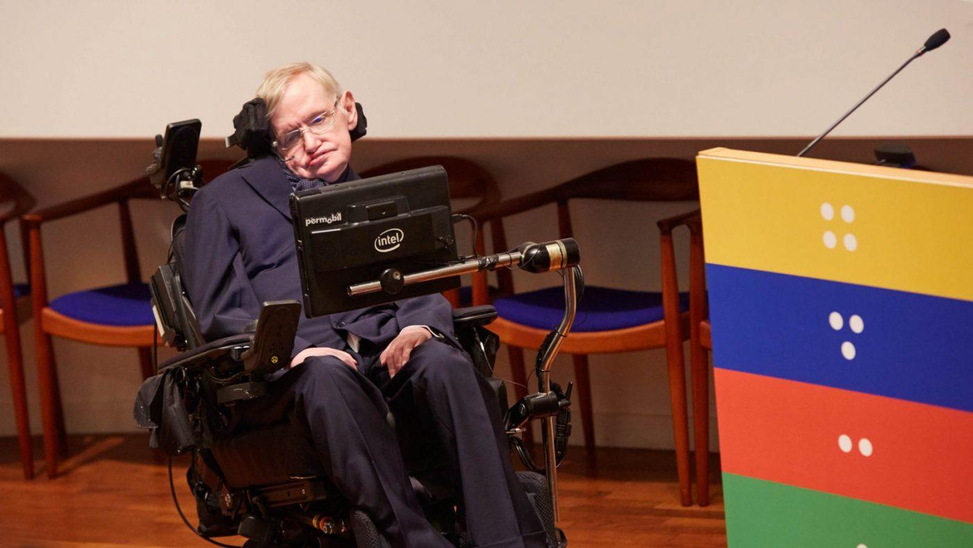 Professor Stephen Hawking på Sightsavers feiring av en milliard NTD-behandlinger.
