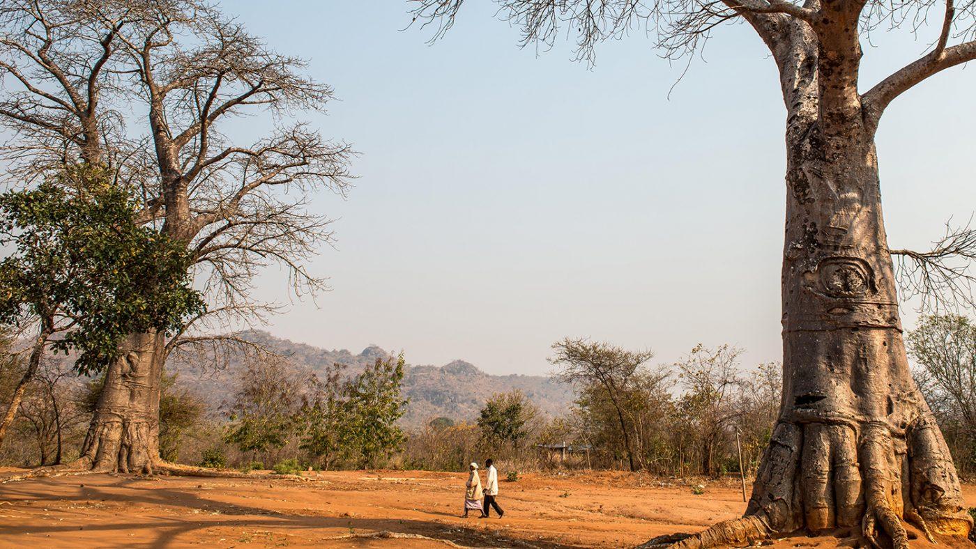 Winesi går sammen med kona i landsbyen deres.