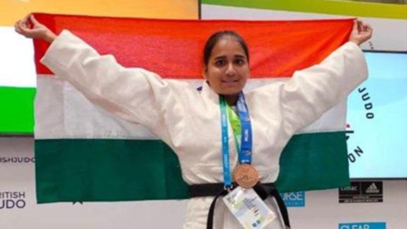 Sarita Choure at the judo championships.