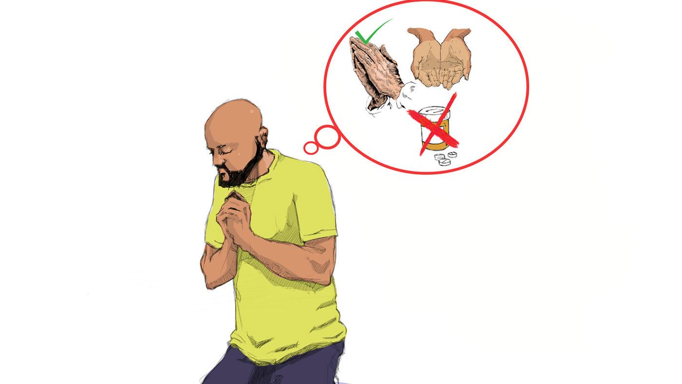 En illustrasjon av en mann som ber. En tankeboble over hodet hans viser en krukke med medisiner som er krysset ut, og hender som ber med en hake ved siden av.