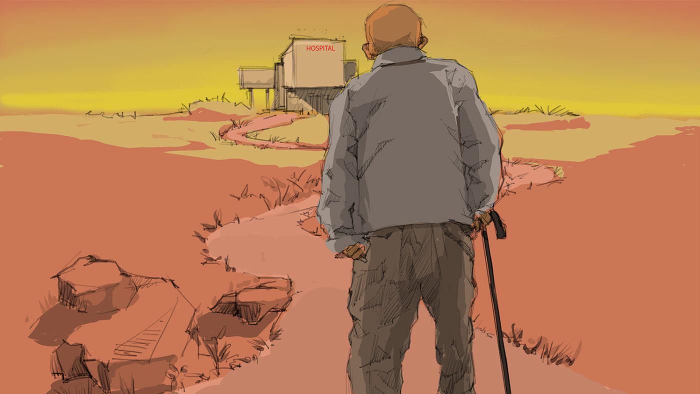 En illustrasjon av en gammel mann med stokk som forsøker å nå et sykehus i enden av en lang vei.