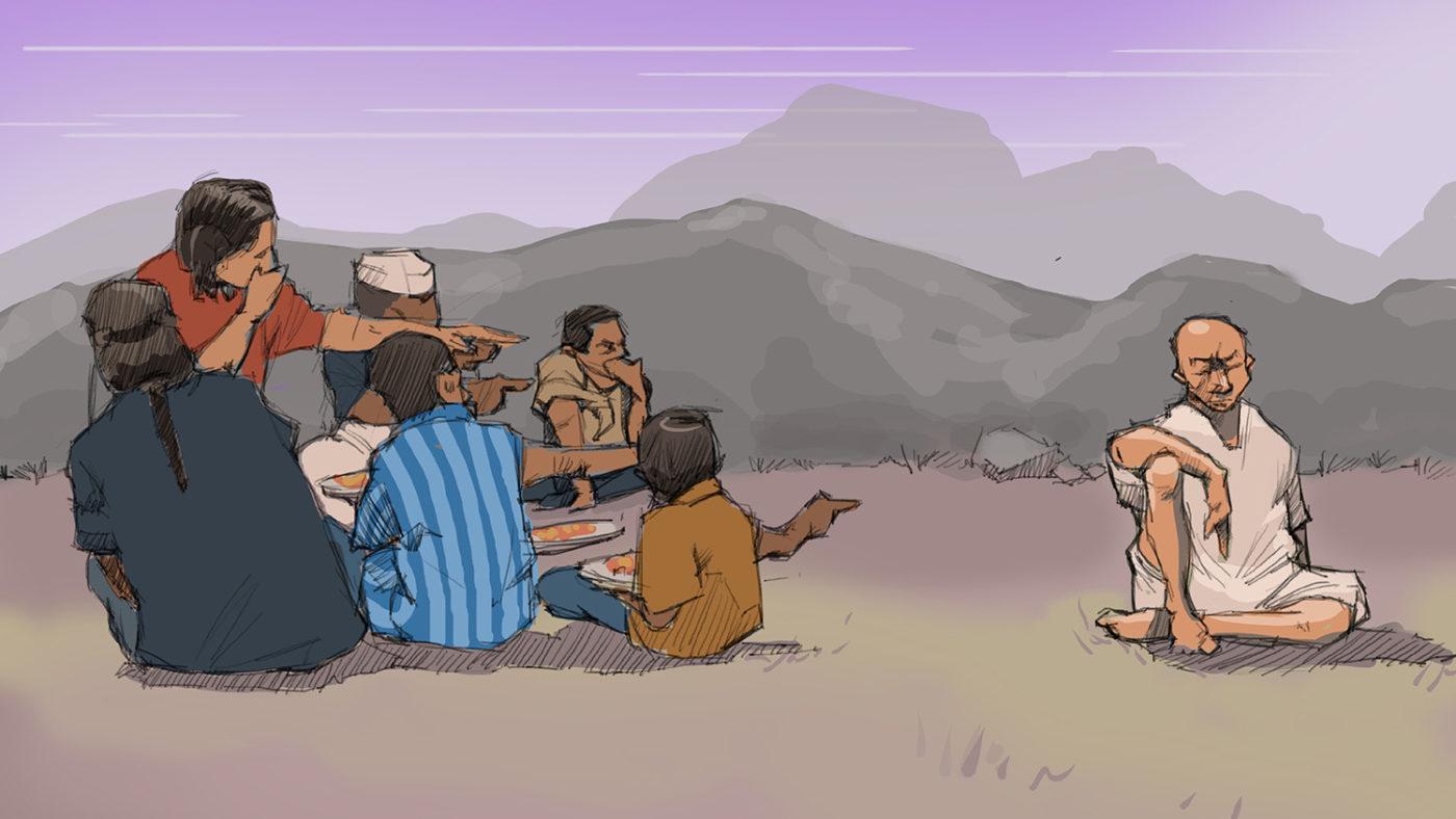 En illustrasjon av en gruppe mennesker som peker på en mann.
